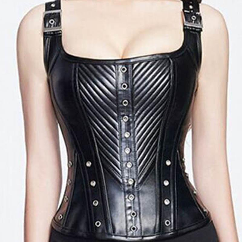 Black and Red Leather Body Shaping Striped Corset - The Black Ravens