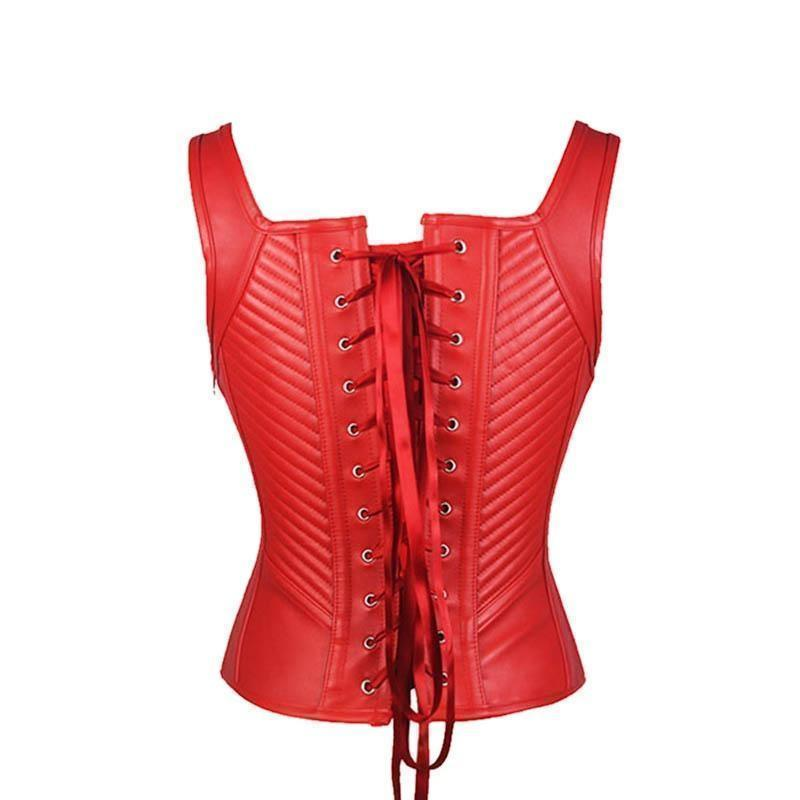 Black And Red Leather Body Shaping Striped Corset-Black-S-
