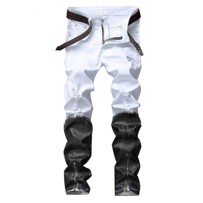 Black And White Casual Mens Punk Jeans-White-30-