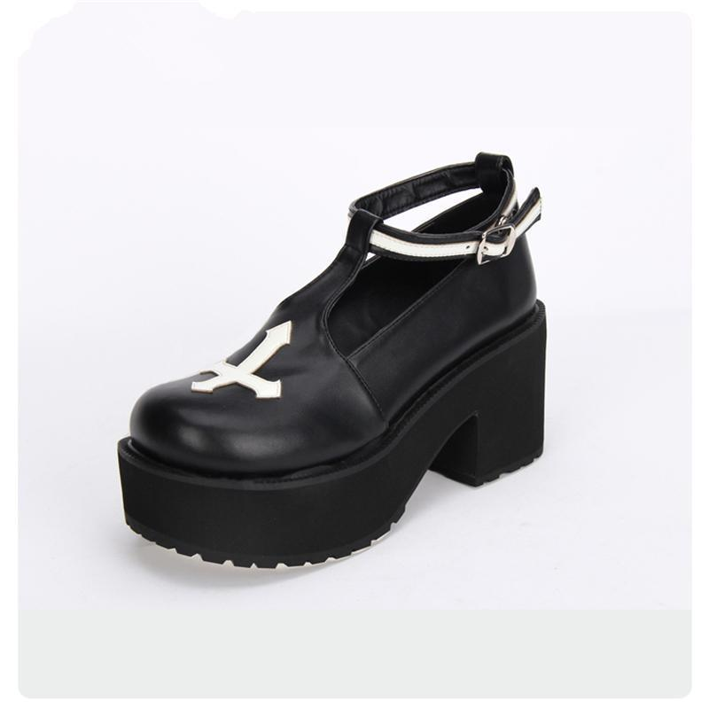 Black and White Cross Gothic Lolita Shoes - The Black Ravens