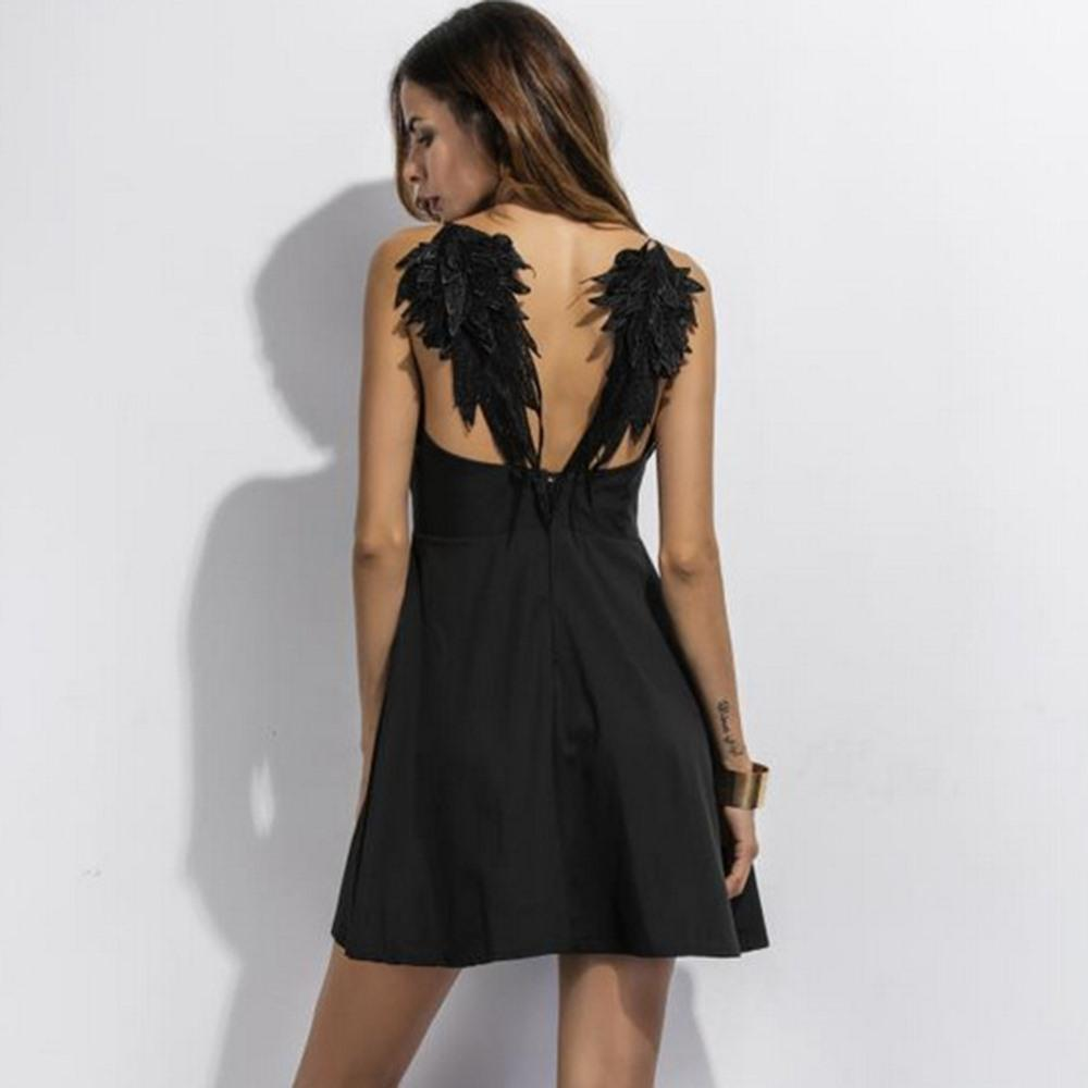 Black Angel Wings Sexy Gothic Dress-Black-M-