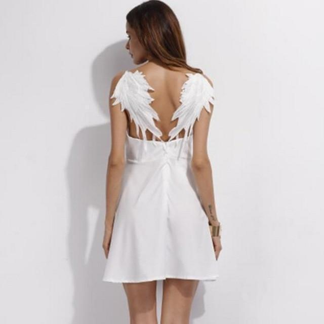 Black Angel Wings Sexy Gothic Dress-White-M-