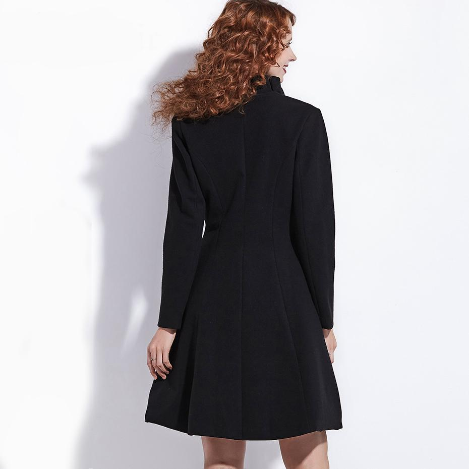 Black Bow Trench Winter Coat For Women-Black-S-