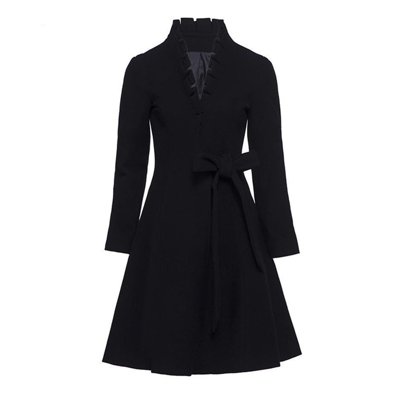 Black Bow Trench Winter Coat For Women - The Black Ravens