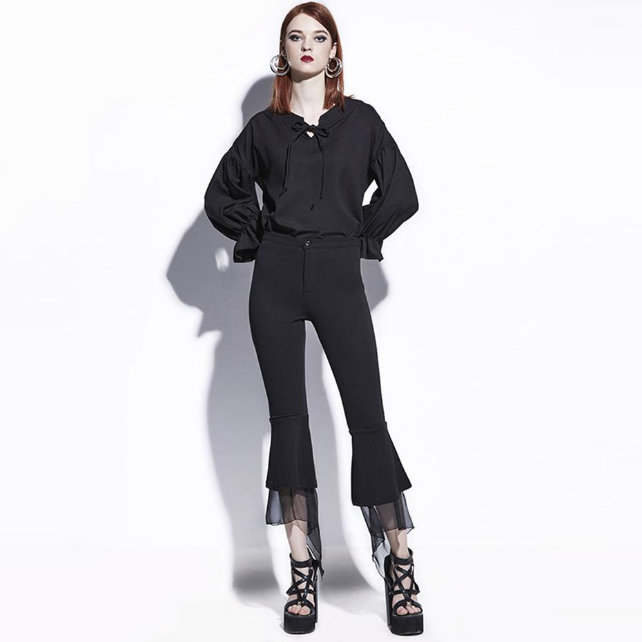 Black Casual Flare Pants For Women - The Black Ravens