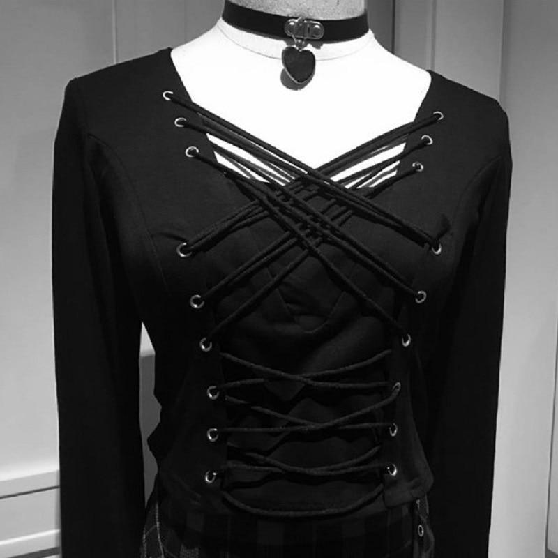 Black Corset Inspired Gothic Tee - The Black Ravens