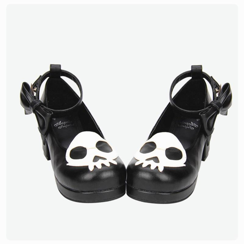 Black Devil Skull Gothic Low Heels-Black-5.5-