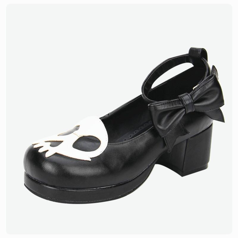 Black Devil Skull Gothic Low Heels - The Black Ravens