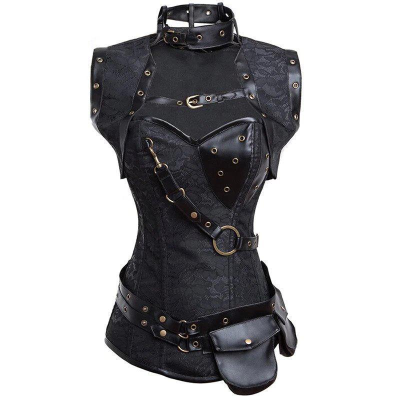 Kinky Black Leather Belt Bondage Corset For Women - The Black Ravens