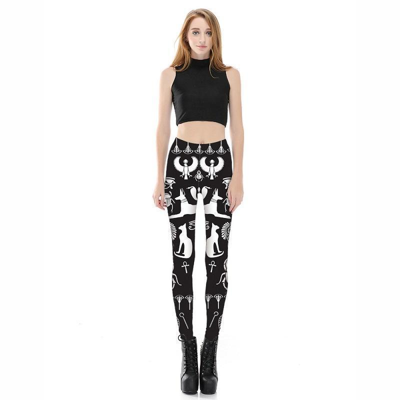 Black Gothic Egyptian Symbol Leggings-Black-S-