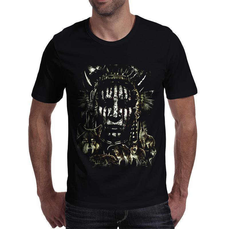 Green Fire Evil Face T-Shirt For Men