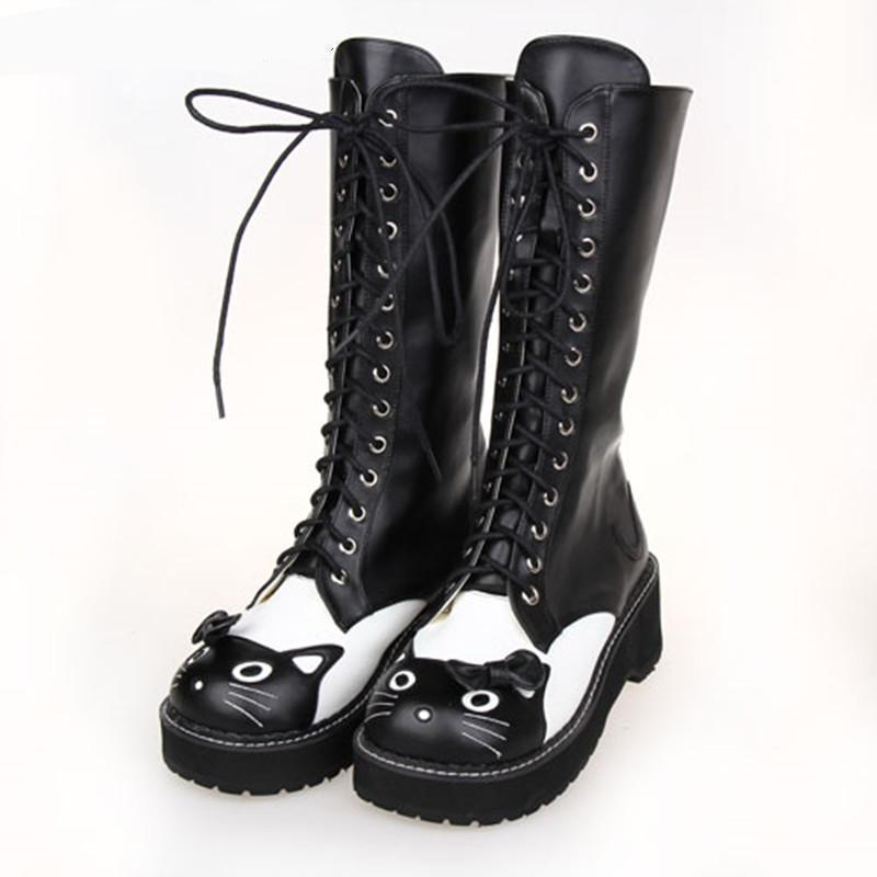 Black Kitten Princess Lolita Lace Up Winter Boots-Black-5-