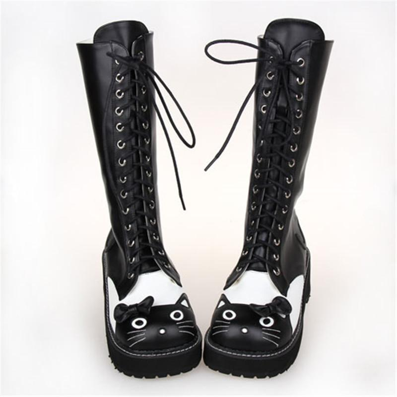 Black Kitten Princess Lolita Lace Up Winter Boots-Black-6-