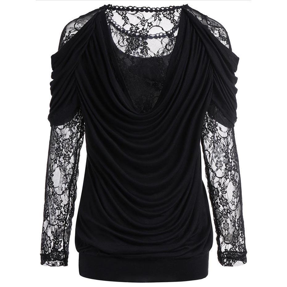 Black Lace Mesh See-Through Top-Black-S-
