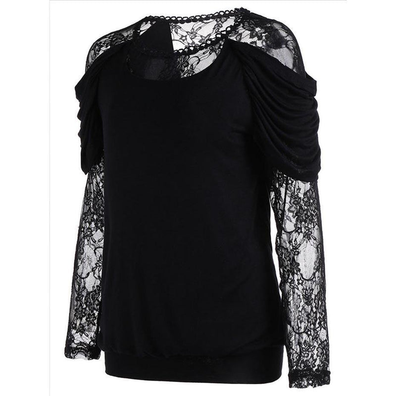 Black Lace Mesh See-Through Top - The Black Ravens