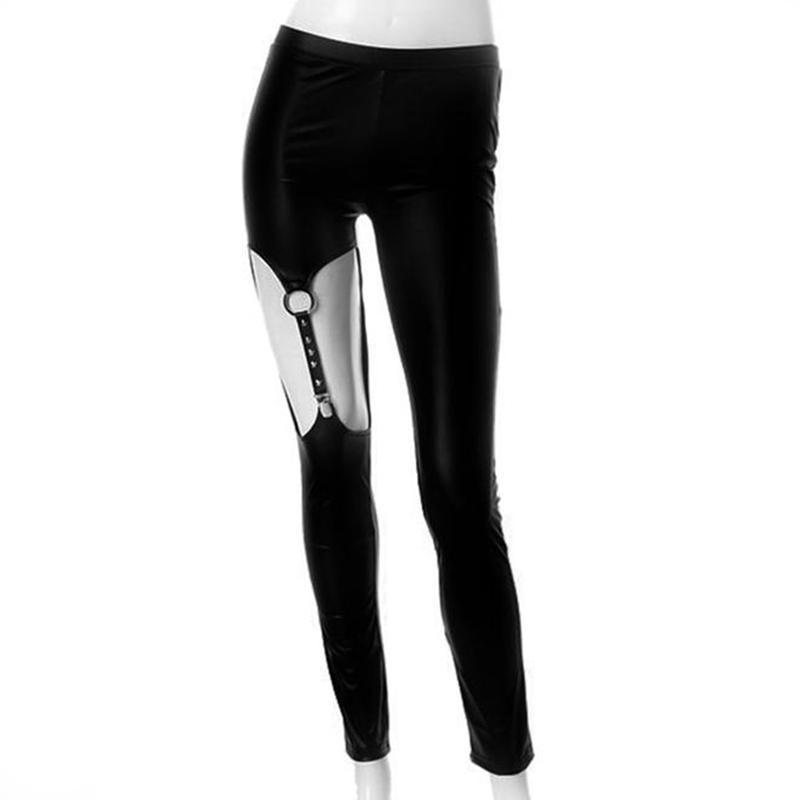 Black Leather Strap Rivet Women's Leggings-