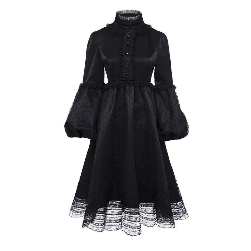 Black Mesh A-Line Lolita Princess Dress-Black-S-