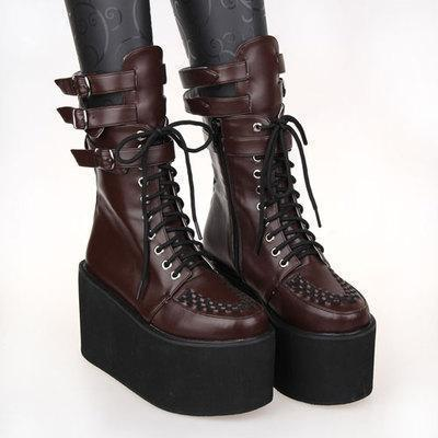 Black Punk Faux Leather Lace-Up Platform-Brown-11-