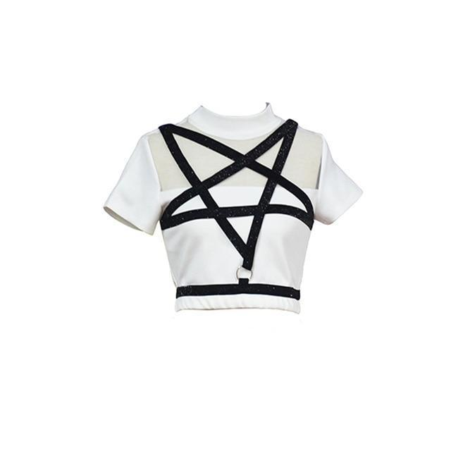 Black Punk Pentagram Short Sleeve Top - The Black Ravens