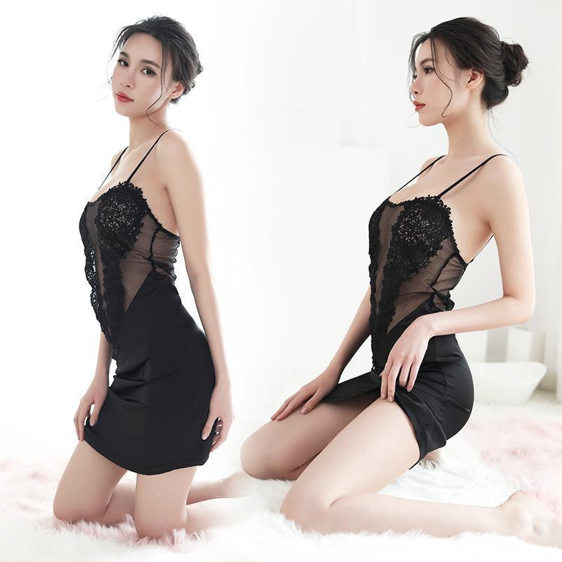 Black Sexy Nightgown For Ladies-Black-M-