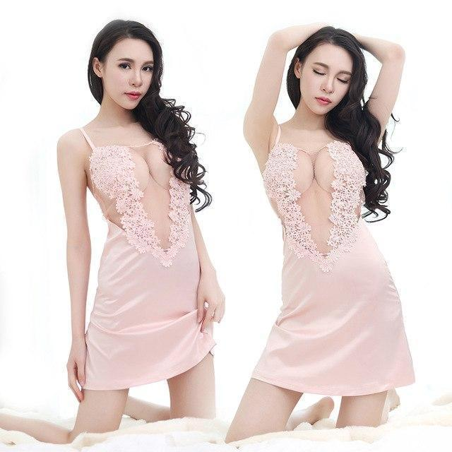 Black Sexy Nightgown For Ladies-Pink-M-