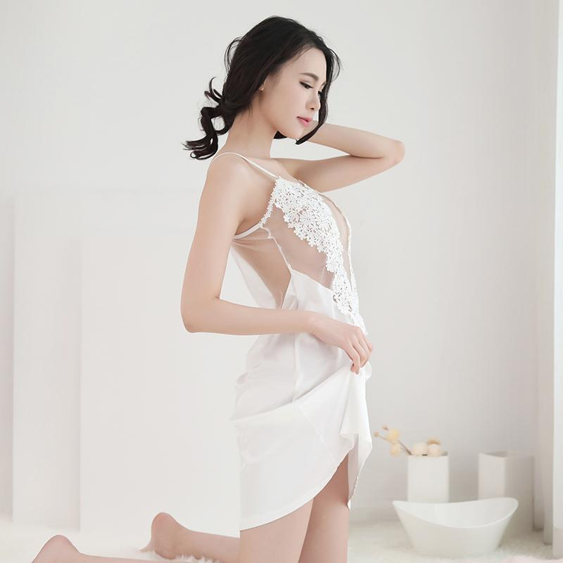 Black Sexy Nightgown For Ladies-White-M-