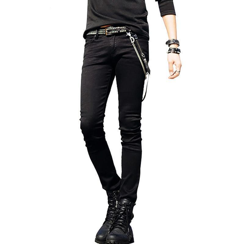 Black Slim Fit Cool Punk Denim Bottoms For Men-Black-27-