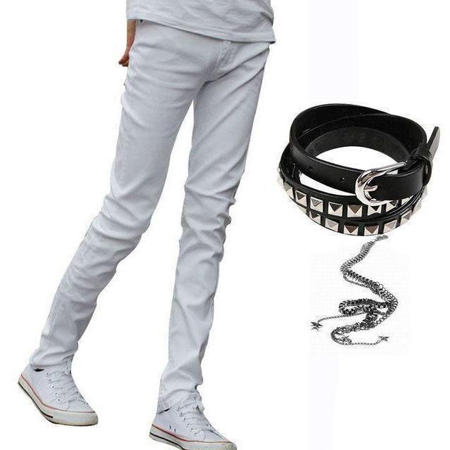 Black Slim Fit Cool Punk Denim Bottoms For Men-White-27-