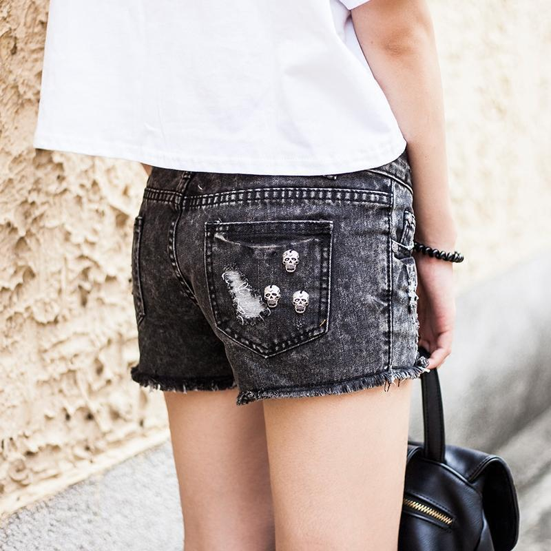 Black Summer Classic Denim Shorts-Black-S-