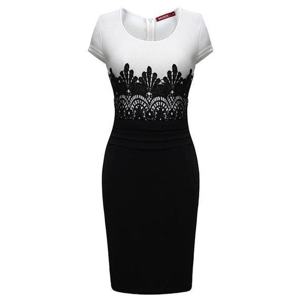 Black White Lace Patchwork Bodycon - The Black Ravens