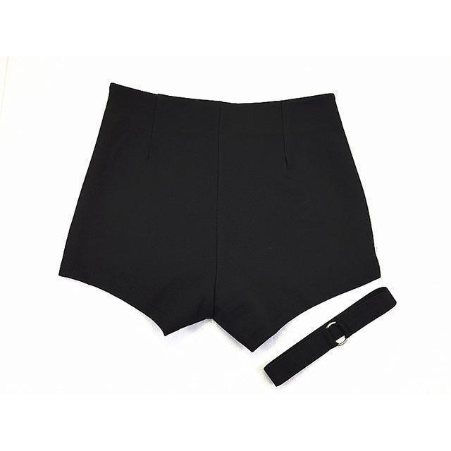 Black Women Chic Ring Decoration Shorts-Black-XS-