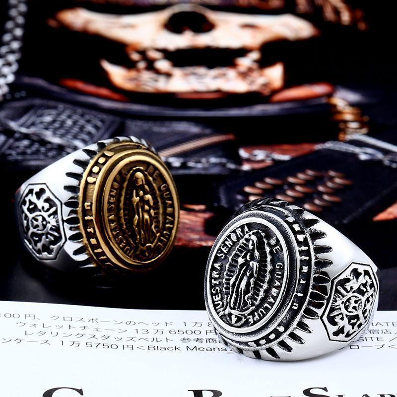 Blessed Stainless Steel Virgin Mary Rings - The Black Ravens