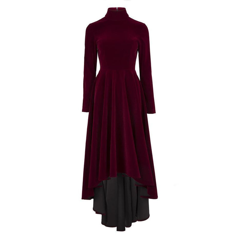 Blood Red Victorian Style Elegant Winter Dress-Burgundy-S-