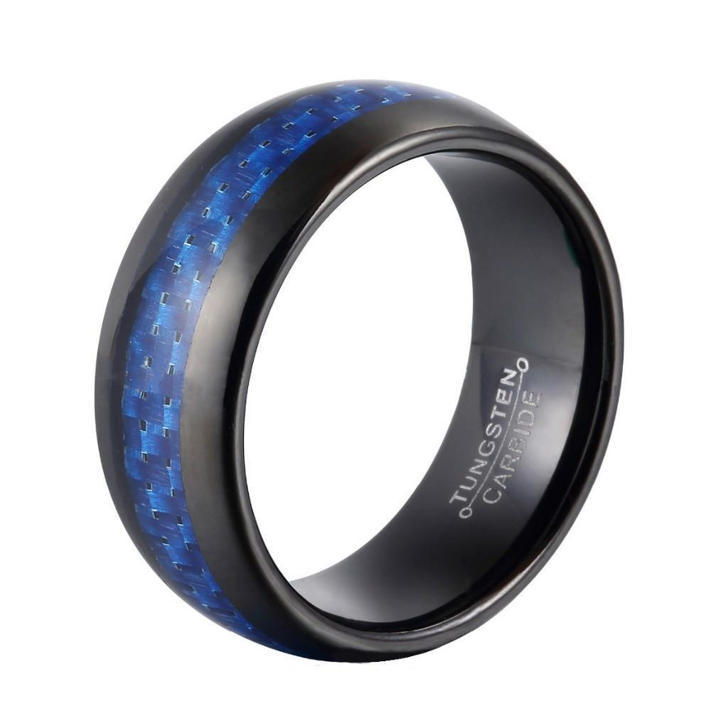 Blue Carbon Fiber Rings - The Black Ravens