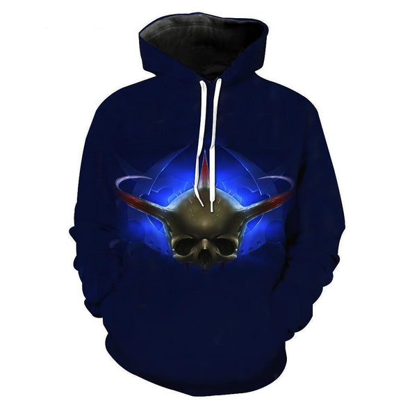 Blue Devil Viking Skull Pullover Jumpers-Blue-XS-