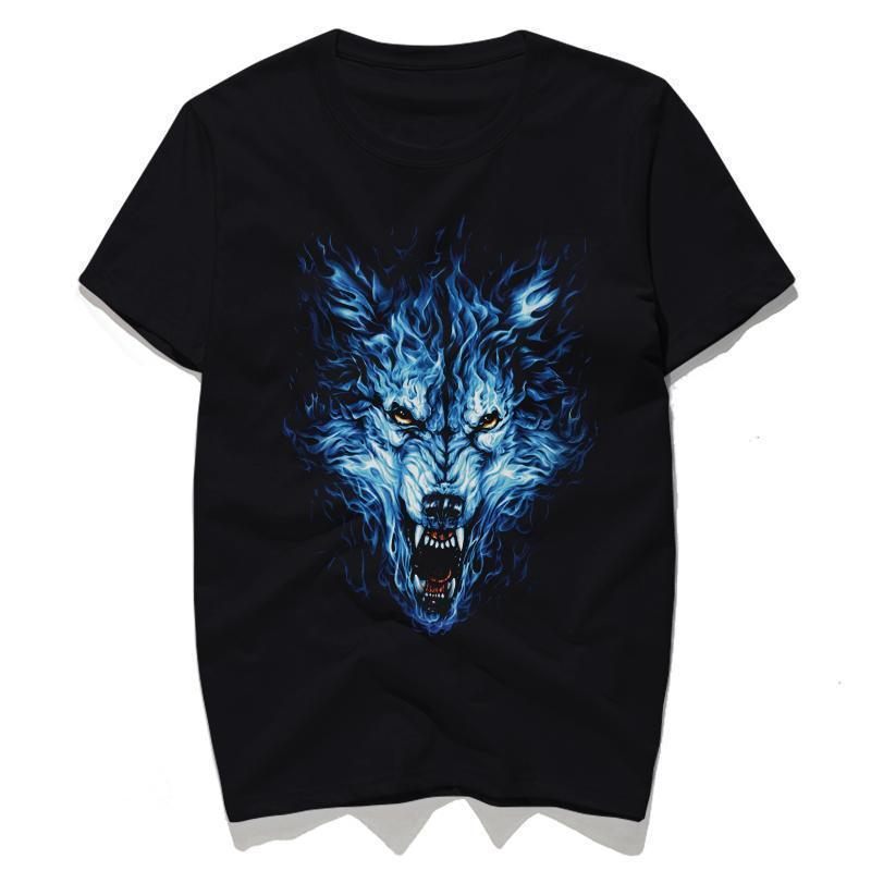 Blue Dire Wolf Made Of Fire Gothic Tops-Black-S-