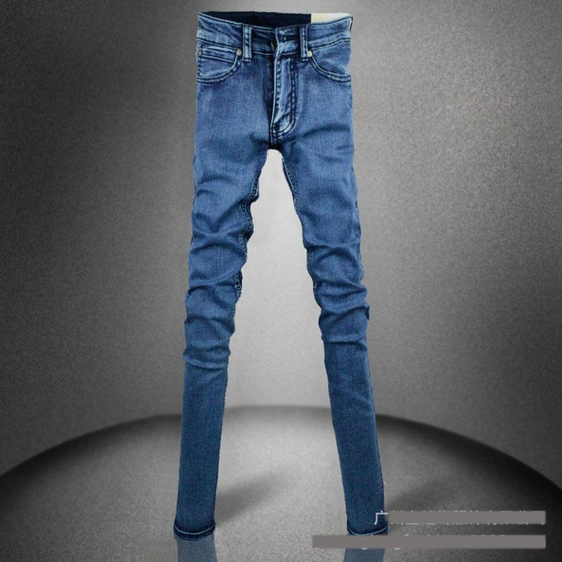 Blue Vintage Aged Stone Washed Tight Jeans-Blue-25-