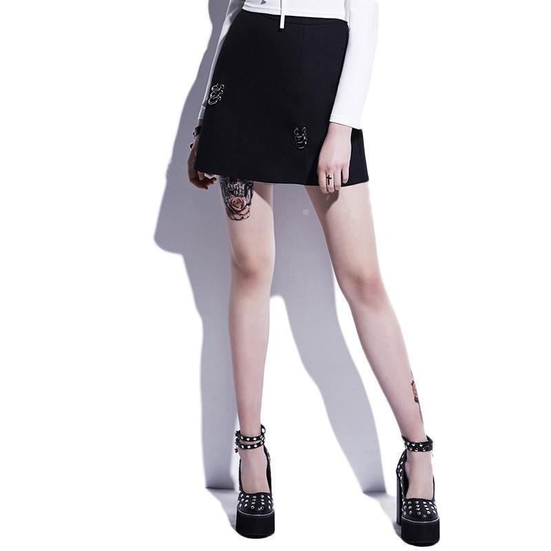 Bodycon Buckle Fashion Mini Skirt-Black-S-