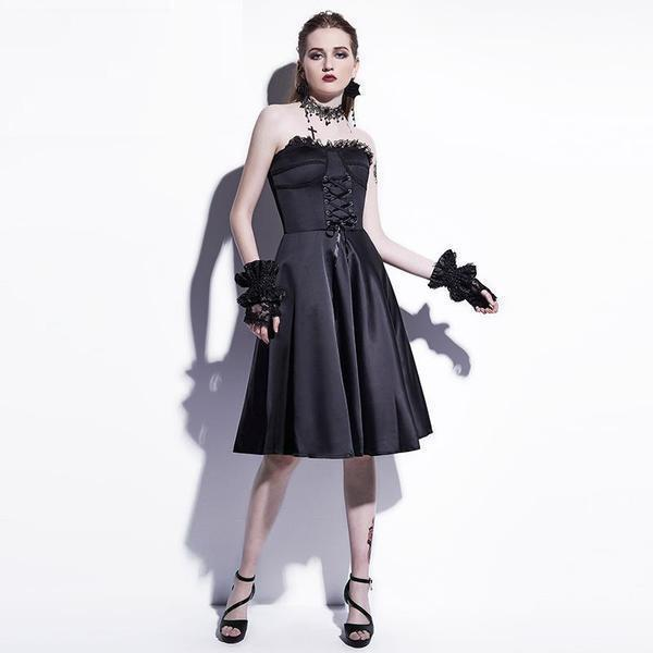 Bold Gothic Straplesss Party Dress-M-