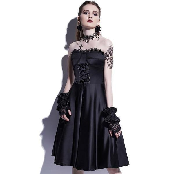 Bold Gothic Straplesss Party Dress-XL-