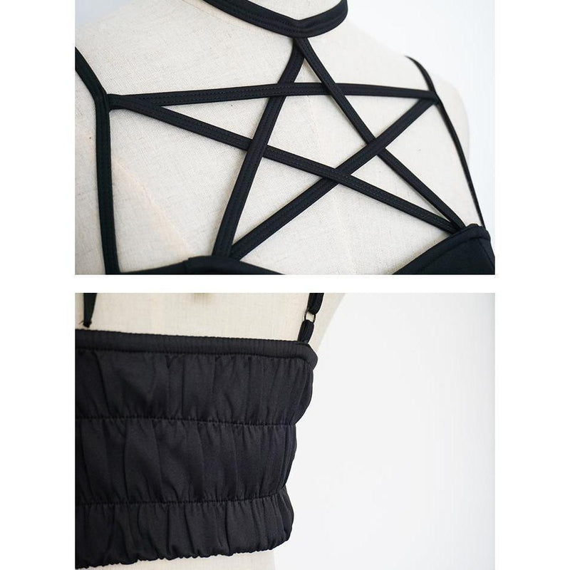 Bold Pentagram Design Sexy Crop Top - The Black Ravens