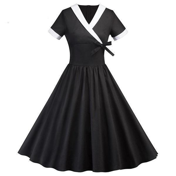 Bowknot V-Neck Women's Gothic Dress - The Black Ravens