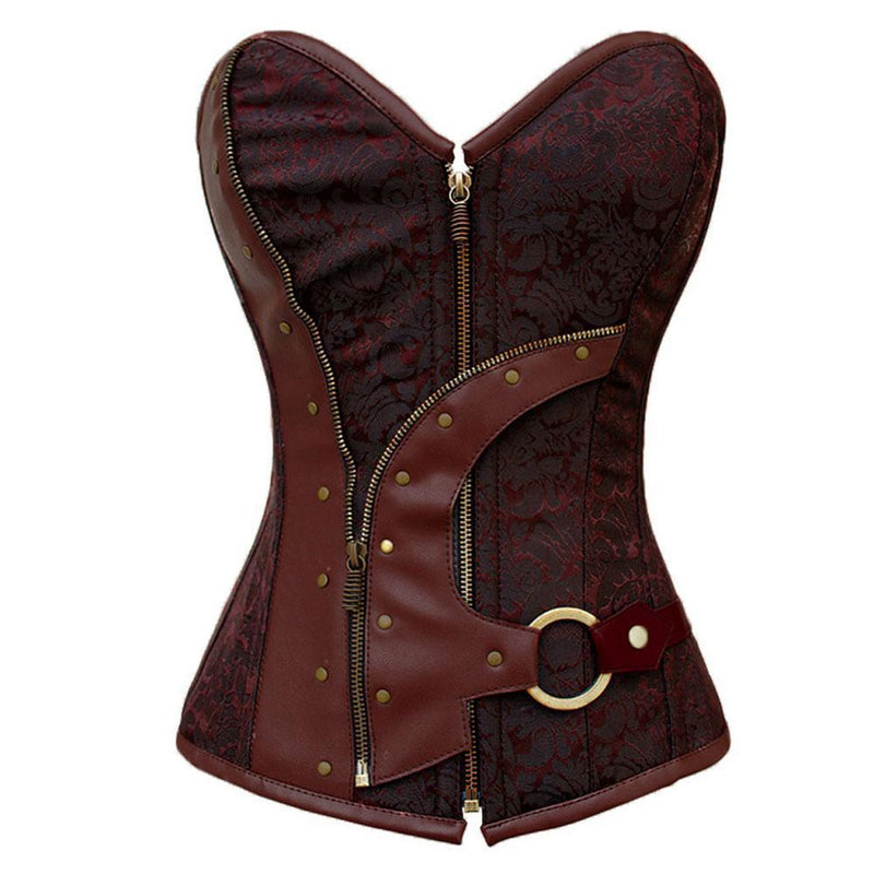 Brown Hot Steampunk Belt Zipper Corset - The Black Ravens
