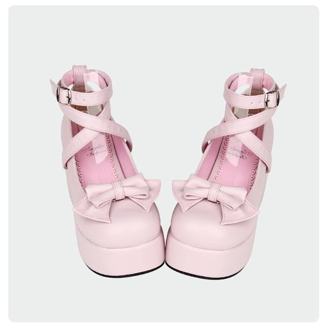 Buckle And Bow Ankle Strap Pump Shoes-Pink-11-