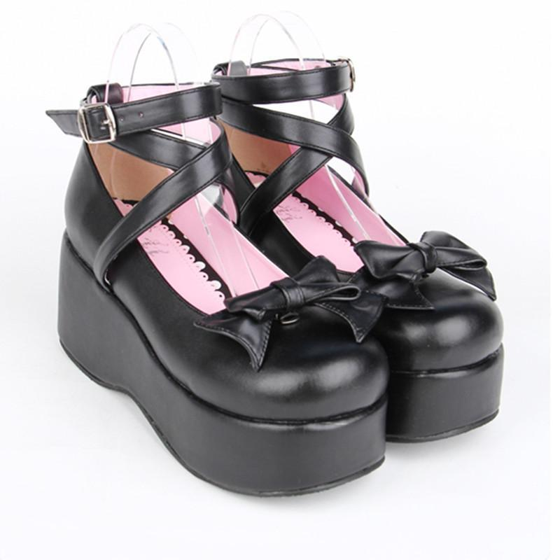 Buckle And Bow Ankle Strap Pump Shoes-Pink-5-