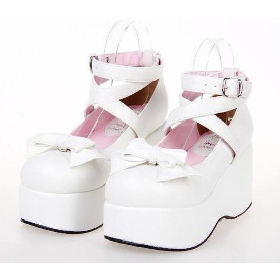Buckle And Bow Ankle Strap Pump Shoes-White-11-