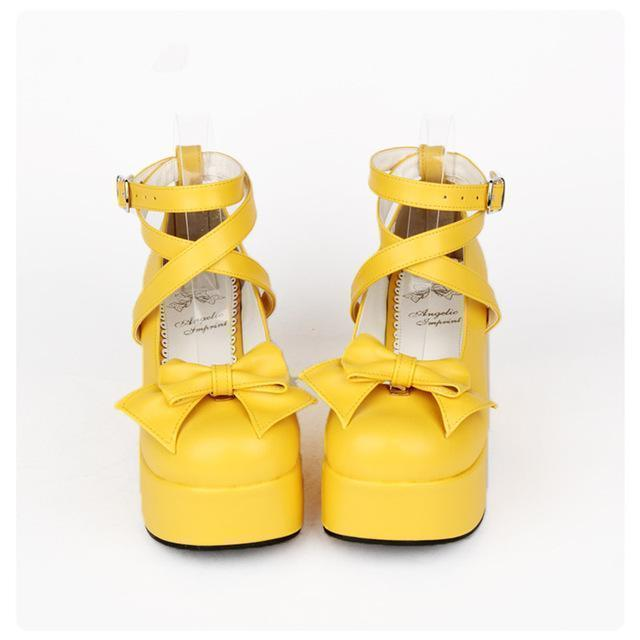 Buckle And Bow Ankle Strap Pump Shoes-Yellow-11-
