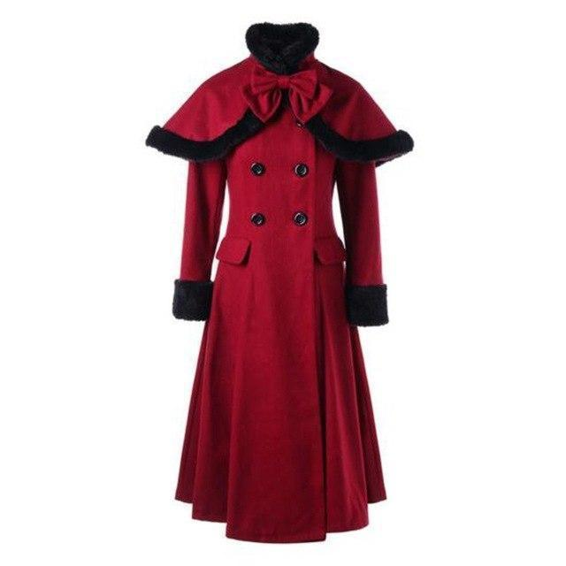 Burgundy Vintage Woolen Swing Overcoat - The Black Ravens