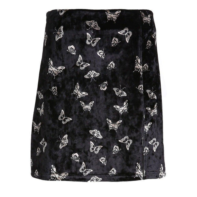 Butterfly Print Ladies Black Velvet Mini Skirt - The Black Ravens