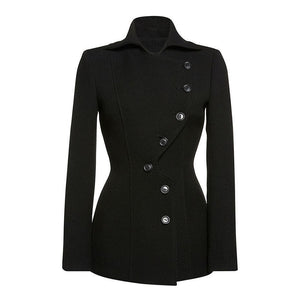 Button Up Fashion Black Jacket-Black-M-